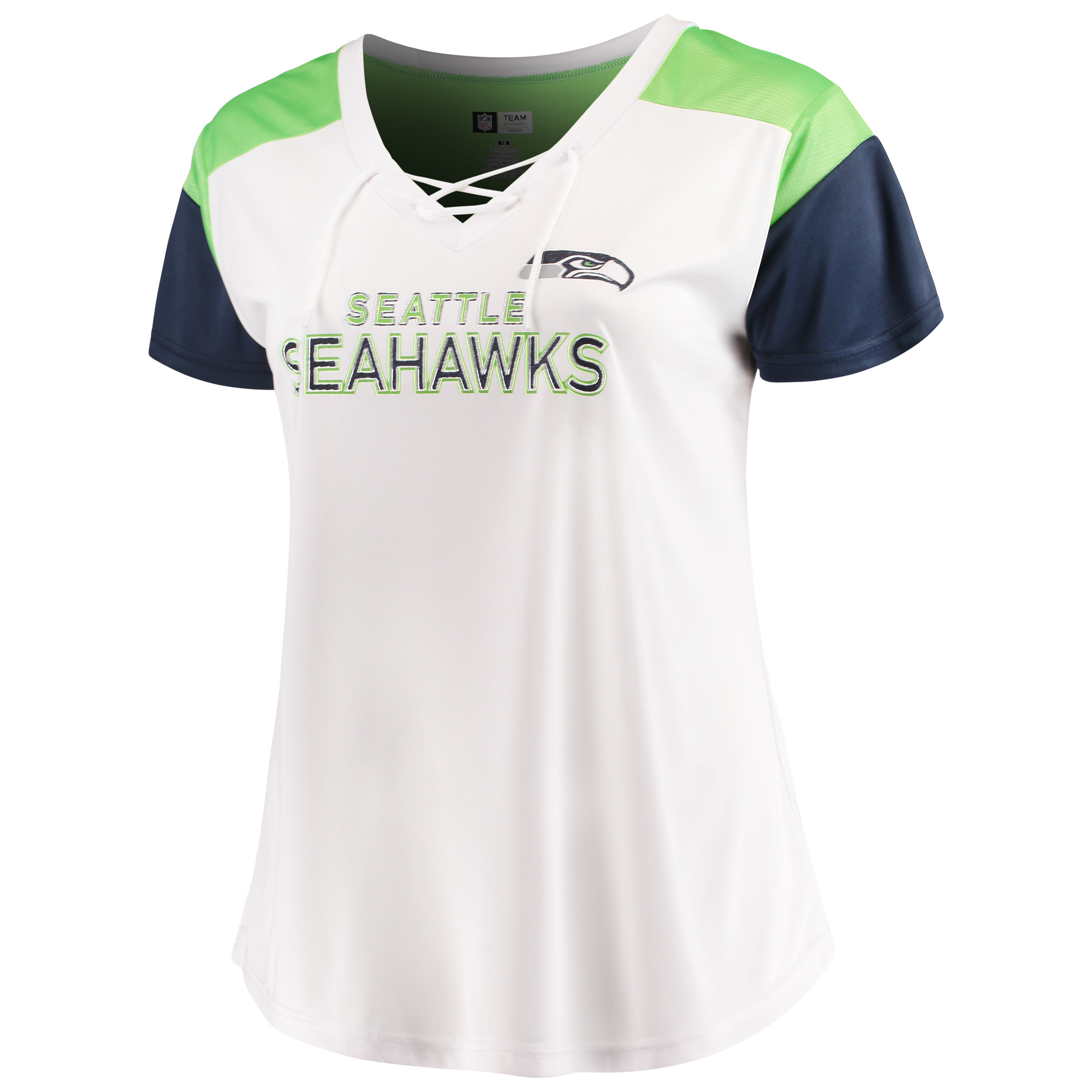 Women's Majestic White/College Navy Seattle Seahawks Lace-Up V-Neck T-Shirt