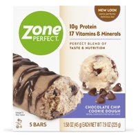 ZonePerfect Protein Bars, Chocolate Chip Cookie Dough, 10g of Protein, Nutrition Bars With Vitamins & Minerals, Great Taste Guaranteed, 5 Bars