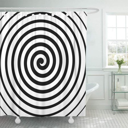 KSADK Artistic Spiral in Black and White Hypnosis Abstract Design Center Centrifuge Circle Shower Curtain Bath Curtain 66x72 inch