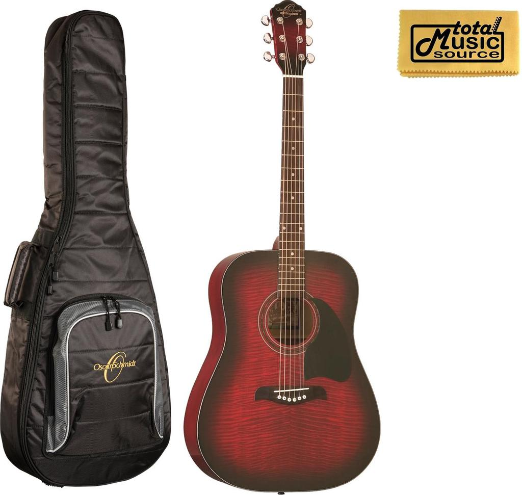 Oscar Schmidt Acoustic Guitar Flame Black Cherry w Gigbag, OG2FBC BAG by Oscar Schmidt