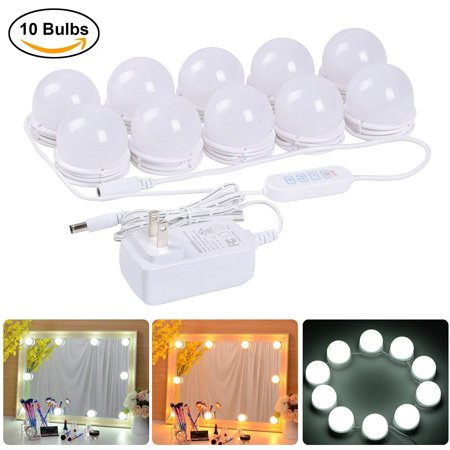 Coolmade Hollywood Style LED Vanity Mirror Lights Kit with 10 Dimmable Light Bulbs, 2 Color Lighting Modes Lighting Fixture Strip for Makeup Vanity Table Set in Dressing Room (Mirror Not Include)