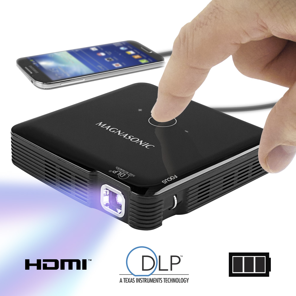 Magnasonic Mini Portable Pico Video Projector, HDMI, Rechargeable Battery, Built-In Speakers, DLP, Vibrant 100 Lumen Bri