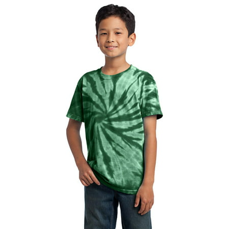Port Company PC147Y Boys Tie-Dye T-Shirt - Forest Green - (Kids Blue Tide Apparel)