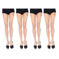 Leg Avenue Women's Plus Size Thigh High Stockings with Silicone Lace Top, Nude, Plus Size, 4-Pair