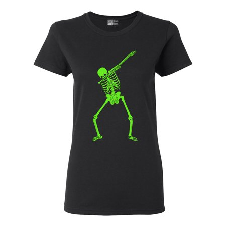 Ladies Dabbing Skeleton Halloween Funny Humor Costume DT T-Shirt Tee