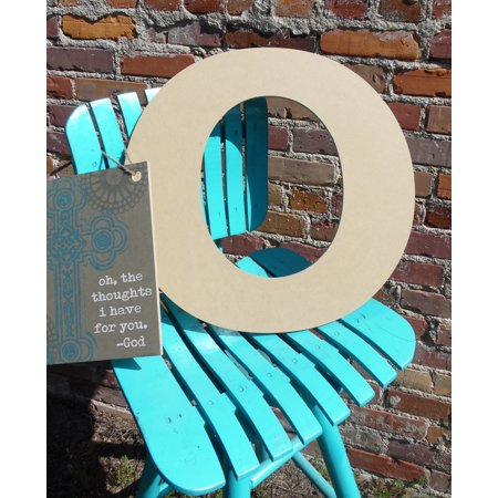 Wooden Hanging Letters Block (Wood Letter, Block Wooden Letter O 18'', Unfinished Wall Hanging )