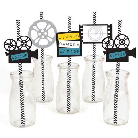 Movie - Paper Straw Decor - Hollywood Party Striped Decorative Straws - Set of 24