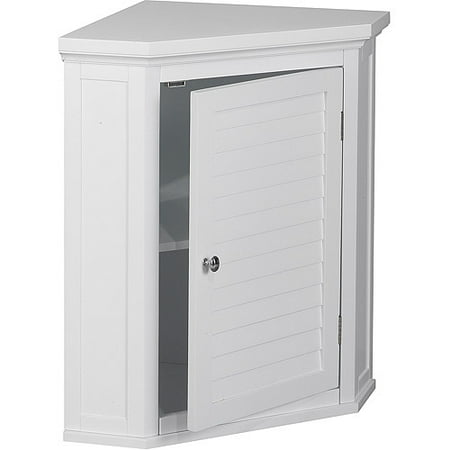 Elegant Home Fashions Sicily Corner Wall Cabinet with 1 Shutter Door, (Lower Corner Cabinet)