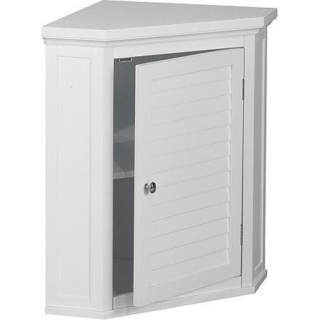 Elegant Home Fashions Sicily Corner Wall Cabinet with 1 Shutter Door, White
