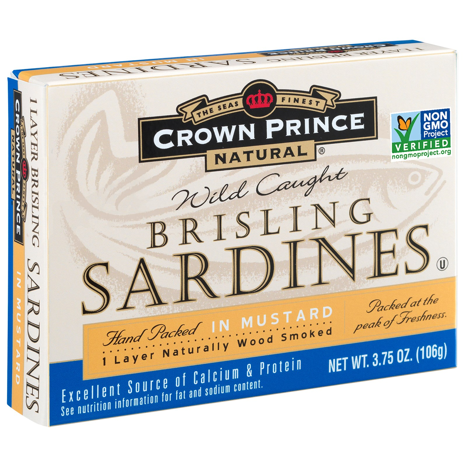 Crown Prince Natural, Brisling Sardines, In Mustard, 3.75 oz (pack of 3)
