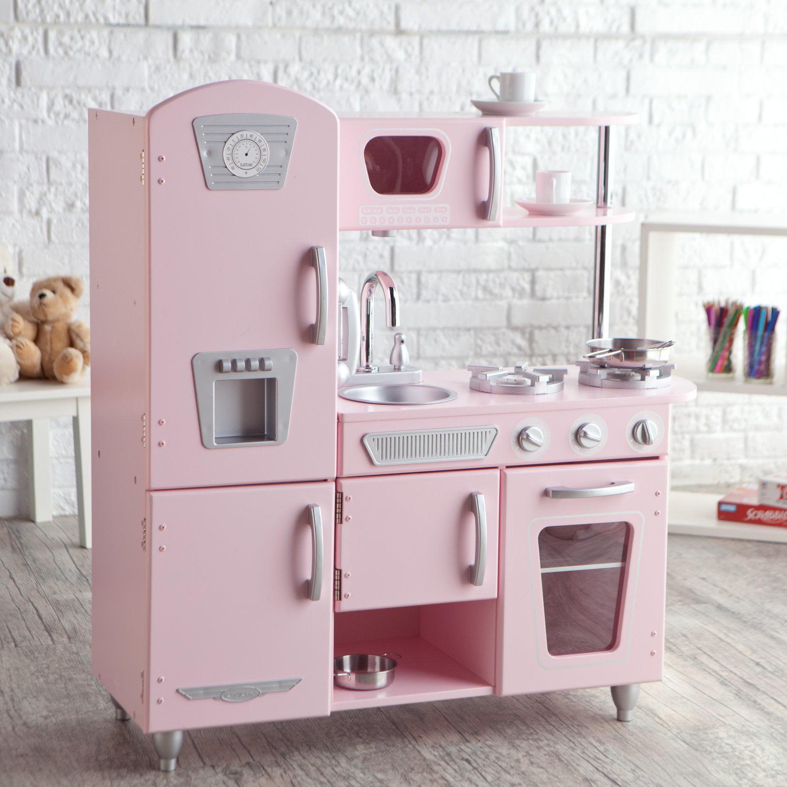 Kidkraft Vintage Wooden Play Kitchen In Pink Walmart Com Walmart Com