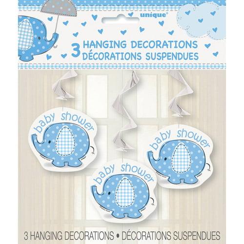 Blue Elephant Baby Shower Hanging Decorations, 3pk