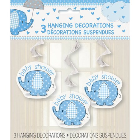 Blue Elephant Baby Shower Hanging Decorations, 26in, 3ct