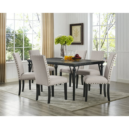 Roundhill Biony 7-Piece Espresso Wood Dining Set with Tan Fabric Nail head Chairs ()
