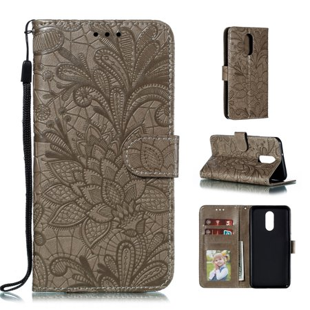 LG Stylo 4 Case, Dteck Embossed Lace Flower Premium PU Leather Flip Fold Wallet Case [Card Holder] [Kickstand Feature] Magnetic Protective Phone Cover For LG Stylo 4, Gray ()