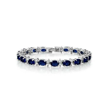 Gem Stone King 20.00 Ct Oval & Round Blue Color Cubic Zirconias CZ Tennis Bracelet - 7 Day Bracelet