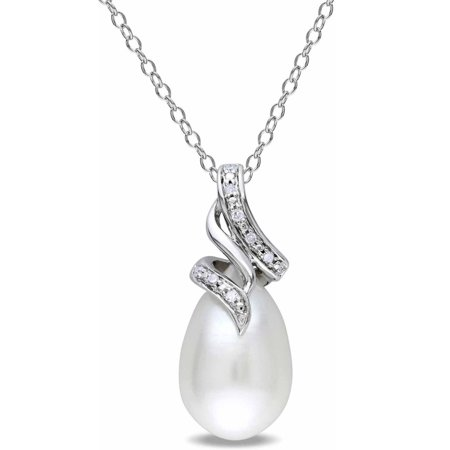 Freshwater Pearl Swirl Drop - 9-9.5mm White Rice Cultured Freshwater Pearl and Diamond-Accent Sterling Silver Swirl Pendant, 18