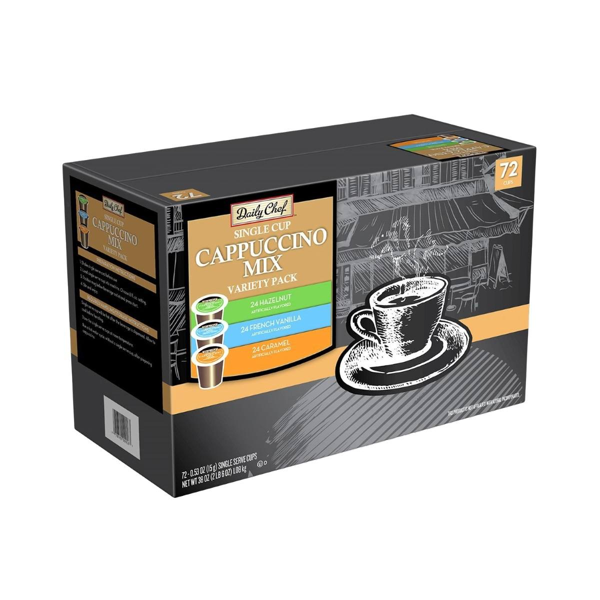 daily chef cappuccino single serve coffee variety pack 72 kcups