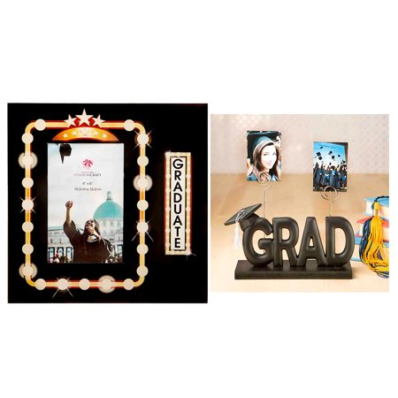 Home Decor Accents Fashioncraft Marquee Design Graduate 4x6 Glass Photo Frame and Fashioncraft Black Grad Picture Clip Holder for $<!---->