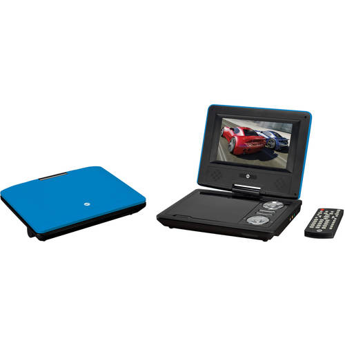 "GPX Portable DVD Player with 7"" Screen, 2 Sets of Headphones, Splitter and Carrying Case Bundle"