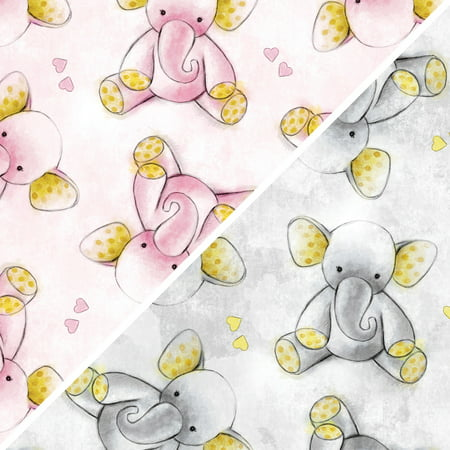 David Textiles Anti-Pill Fleece Sleepytime Elephants Fabric, per Yard