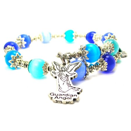 Chubby Chico Charms Guardian Angel Cat's Eye Wrap Charm Bracelet in Sapphire Blue and Aqua Blue