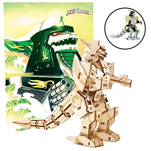 "Mighty Morphin Power Rangers Dragonzord Poster and 3D Wood Model Kit - Build, Paint and Collect Your Own Wooden Model - Green Ranger - Great For Kids and Adults,12+ - 5"" h"