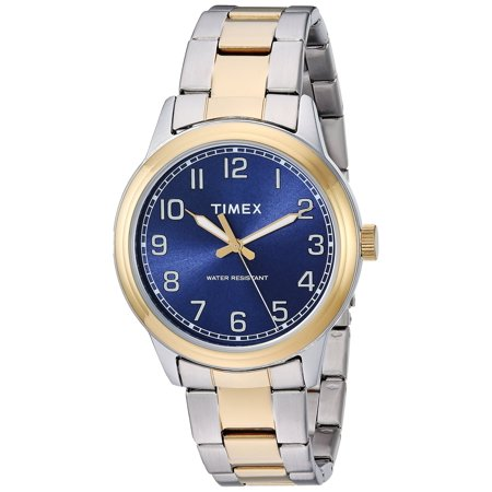 Timex Mens New England Two-Tone/Blue Stainless Steel Bracelet Watch TW2R36600