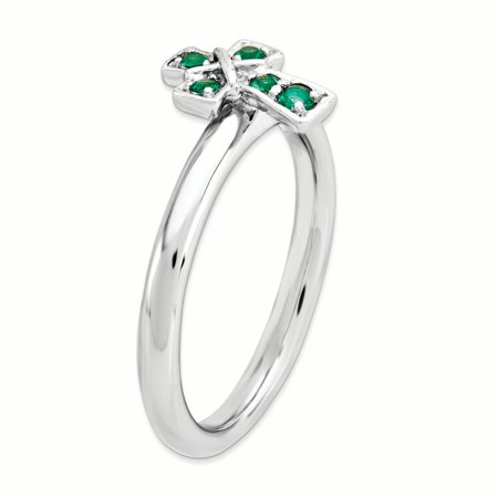 Sterling Silver Stackable Expressions Rhodium Created Emerald Cross Ring Size 10 - image 3 de 3