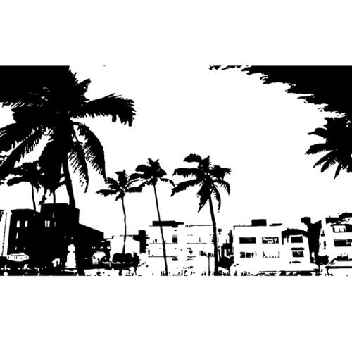 Stickalz llc Miami Sun Palm Beach Wall Art Sticker Decal