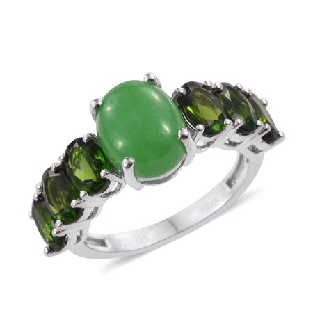 Girls Green Jade Chrome Diopside Platinum Over Silver Cocktail Ring (Silver Chrome Girl)