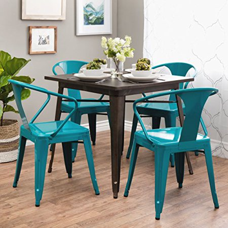 (ModHaus Living Set of 4 Turquoise French Bistro Metal Chairs in Glossy Powder Coated Finish Steel Stackable Dining Includes (TM) Pen)