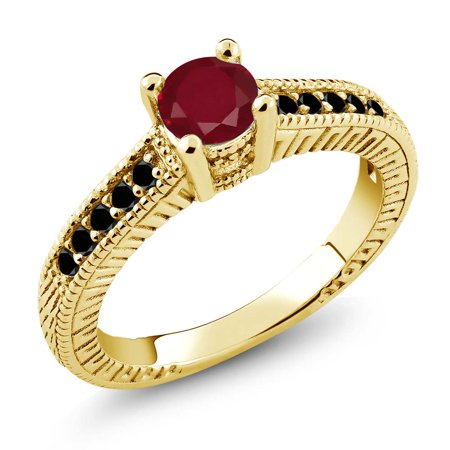 0 73 Ct Red Ruby Black Diamond 925 Yellow Gold Plated Silver Engagement Ring