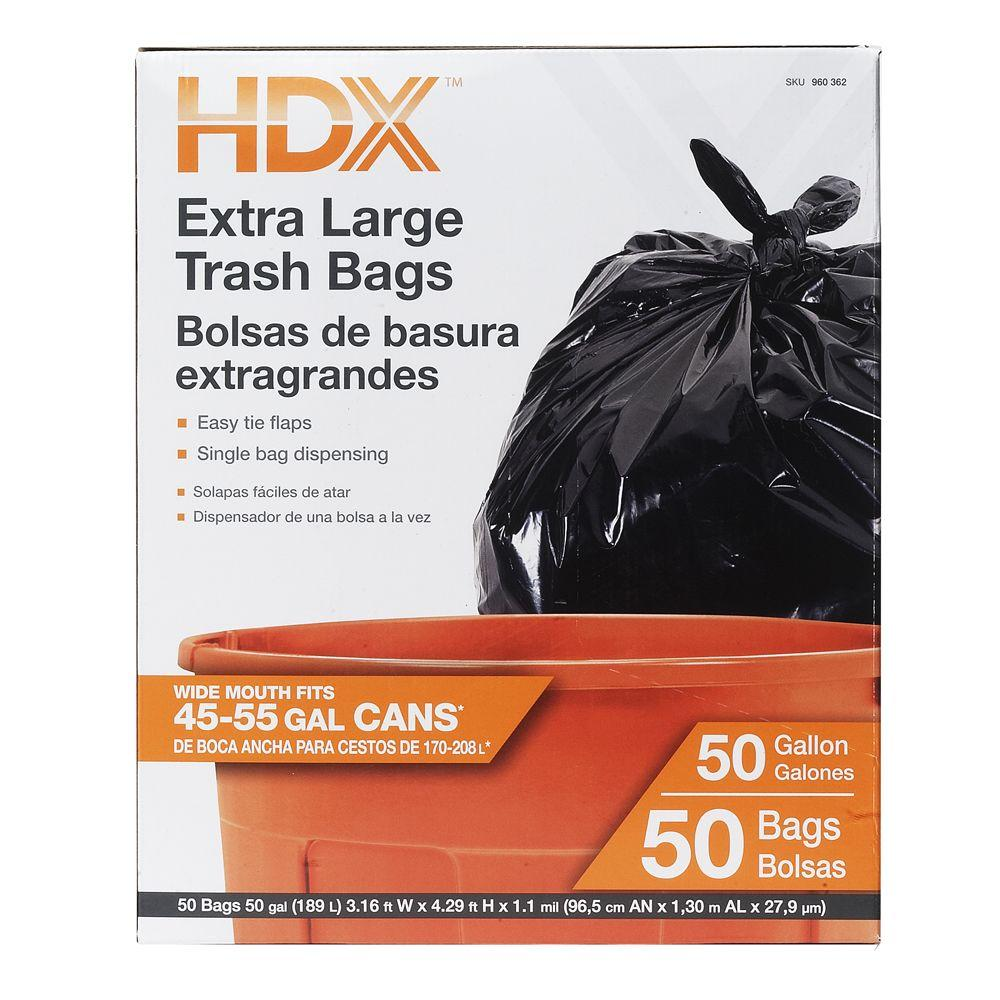 HDX 50 Gal. Extra Large Black Trash Garbage Bags 50-Count Draw & Tie 960362