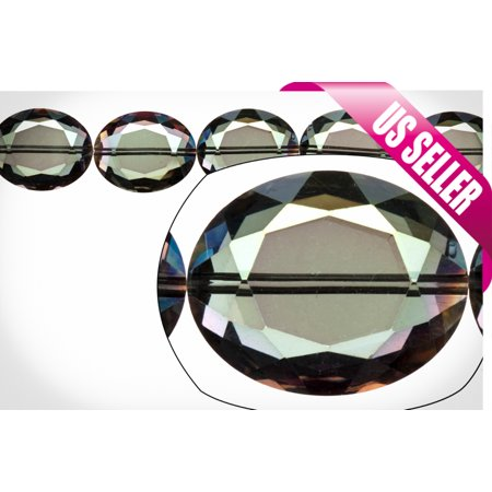 Crystal Bead, Center-Drilled Double-Sided Faceted Oval, Fire Vitrail, 16.5x20mm 8x10mm Faceted Oval Bead