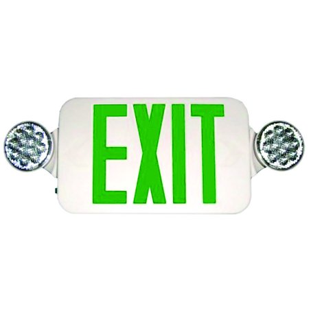 Micro Combo LED Exit Emergency Light High Output Remote Green LED White Housing