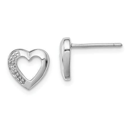 Roy Rose Jewelry Sterling Silver Diamond Heart Post Earrings