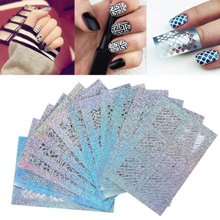 New Hallow (24 Sheets New Nail Hollow Irregular Grid Stencil Reusable Manicure)