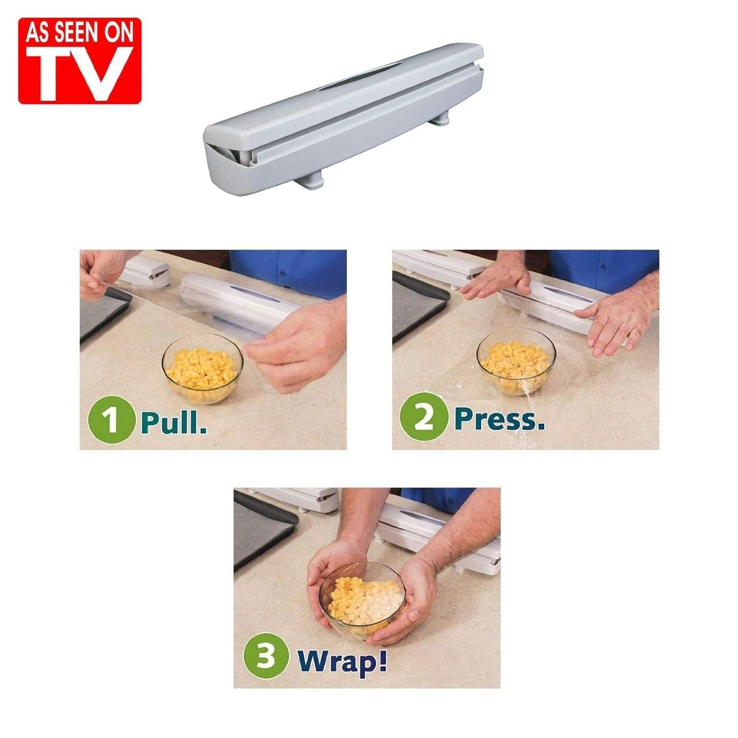 Coolmade Plastic Wrap Cutter, Food Freshness Wraptastic Dispenser Preservative Film Unwinding Cutting Foil Cling Wrap Kitchen Accessories - Easy to Use Wrap Dispener, Just Pull, Press, Cut and Wrap