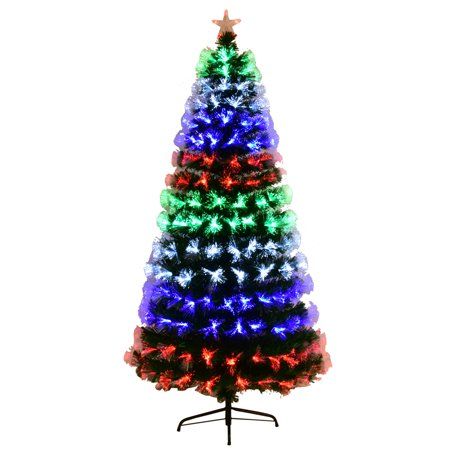 Costway 4Ft \5Ft\6Ft\7Ft Multicolor LED Lights & Stand Pre-Lit Fiber Optic Artificial Christmas