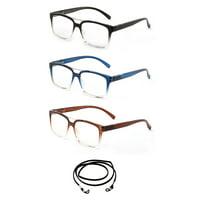 Newbee Fashion Translucent Frame Spring Hinge Bifocal +1.0 Reading Glasses, 3 Pack