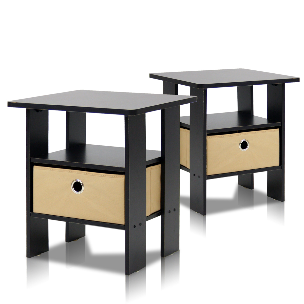 Furinno Petite End Table Bedroom Night Stand, Set of Two