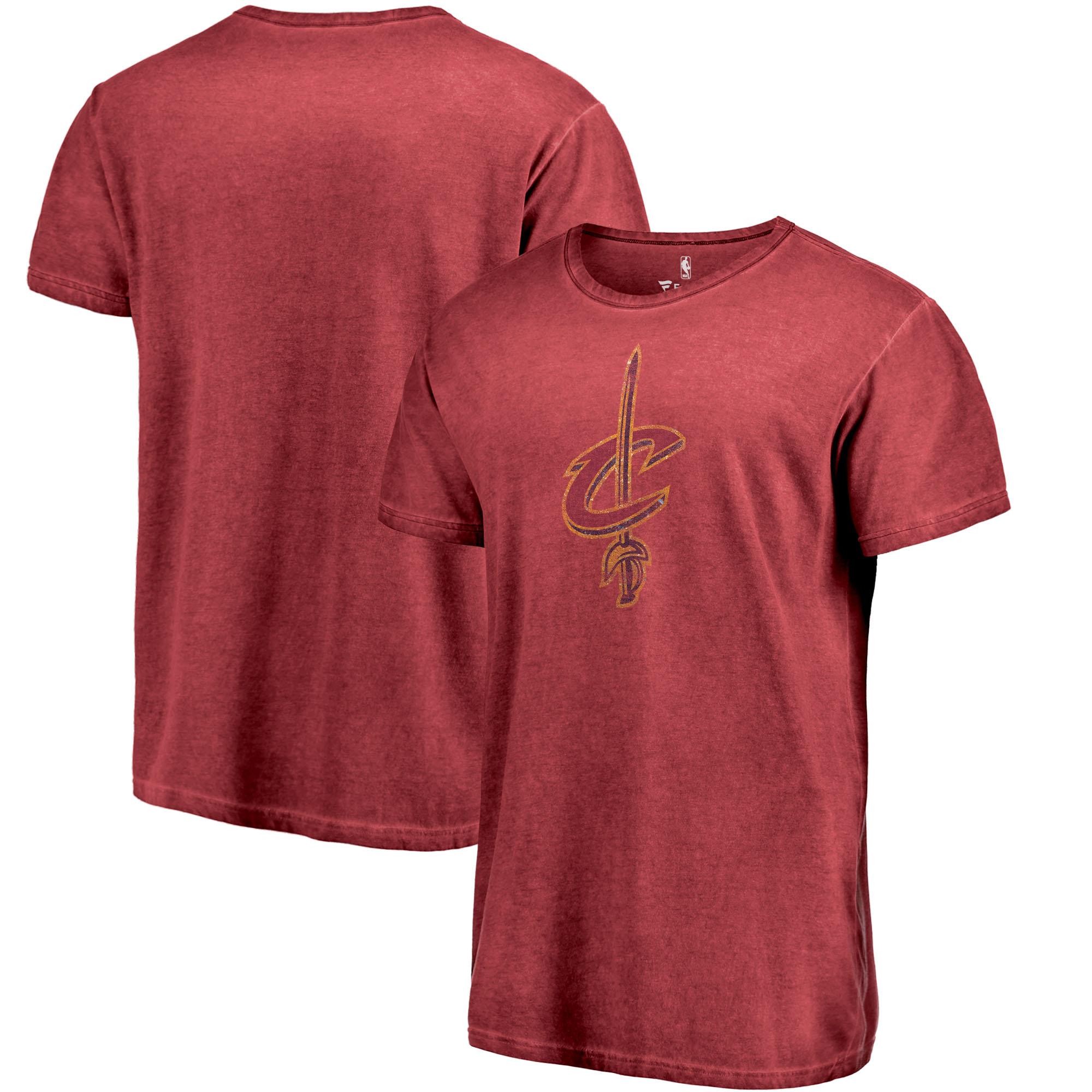 Cleveland Cavaliers Fanatics Branded Shadow Washed Logo T-Shirt - Garnet