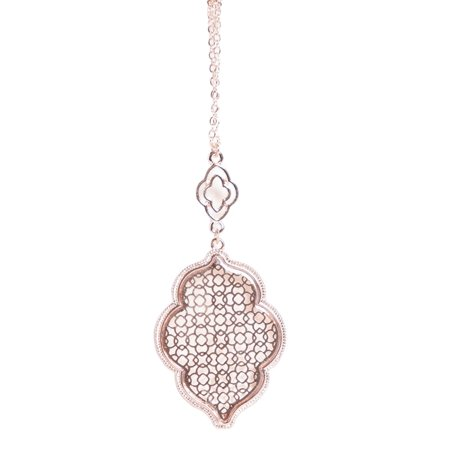 StylesILove Womens Trendy Two-Tone Cut Off Filigree Quatrefoil Long Chain Pendant Necklace (Rose Gold/Necklace)