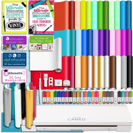 Hematite Cameo - Silhouette Cameo 3 Bluetooth Bundle 36 Oracal Sheets, Siser HTV, Guides, 24 Pack Pens, and More