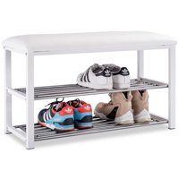 Costway 2 Tier Shoe Rack Metal Bench Cushioned Soft Seat Stool Organizer Entryway