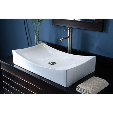 Bloomsbury Market Jalbert Ceramic Rectangular Vessel Bathroom Sink