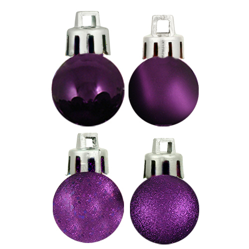 "18ct Eggplant Purple 4-Finish Shatterproof Christmas Ball Ornaments 1.25"" (30mm)"