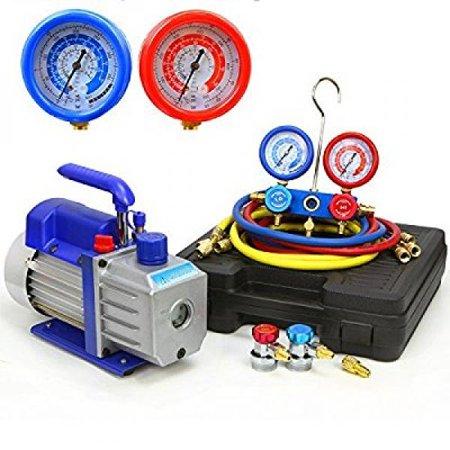 XtremepowerUS 3CFM or 4CFM Air Vacuum Pump HVAC A/C Refrigeration Kit AC Manifold Gauge Set (4CFM 1/3HP Air Vacuum