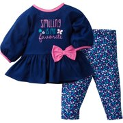 gerber newborn baby girl tunic bow legging 2pc outfit set